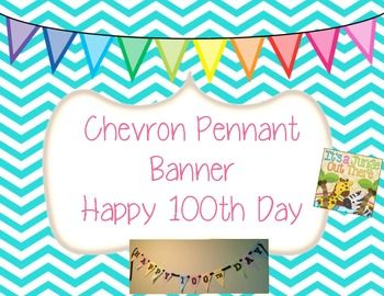 This isn't really clipart, but it's an adorable freebie: 100th Day Chevron Pennant Banner