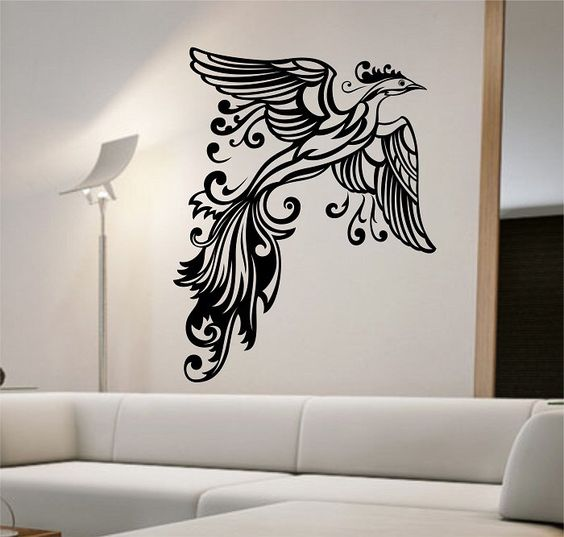 phoenix wall decal sticker art decor bedroom design mural version birds animals home decor room decor