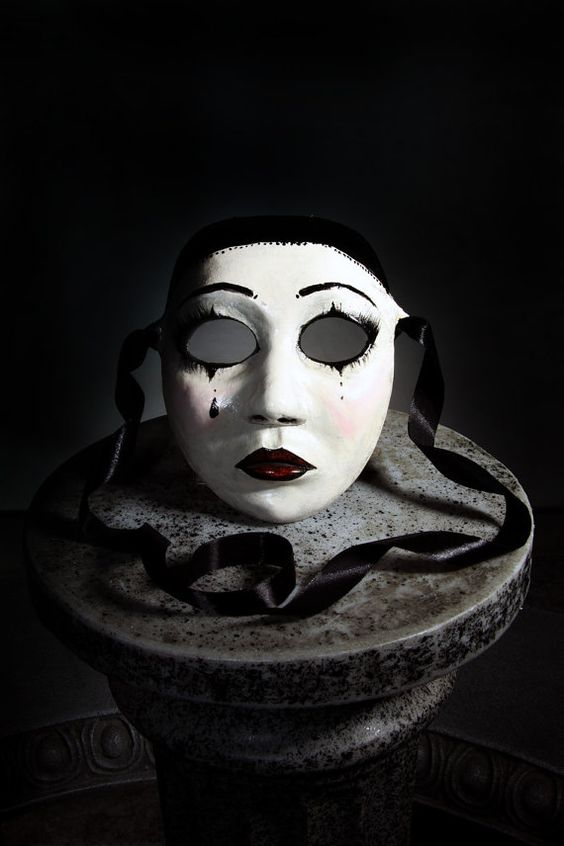 Pierrot Latex Mask. Original Handpainted. Based on comedia del arte character. Customisable. Venetian Pantomime Clown Face Masqerade Masque.