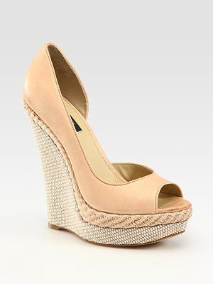Rachel Zoe King Leather Espadrille d'Orsay Wedge Pumps