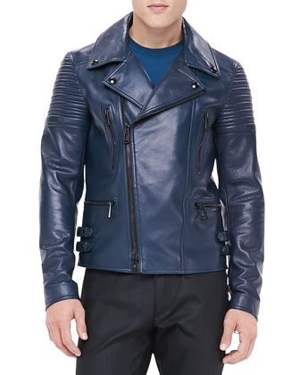Kettering Leather Biker Jacket Blue | Shops Leather and Jackets