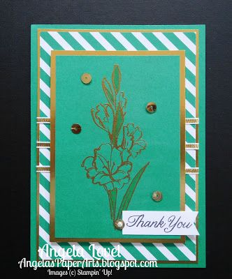 """Sneak Peek of Emerald Envy, one of Stampin' Up!'s new 2016-18 In-Colors from the SU 2016-17 annual catalogue available 1 June. Also features the new Gift of Love stamp set, 1/8"""" gold ribbon and Gold foil available from http://www3.stampinup.com/ECWeb/default.aspx?dbwsdemoid=4011749. More details on my blog. #OnStage2016, #angelaspaperarts"""