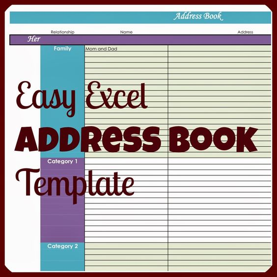 Address Book Template Excel - Template