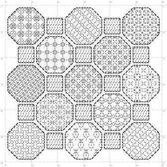 Octagon sampler blackwork pattern par MKDesignArt sur Etsy