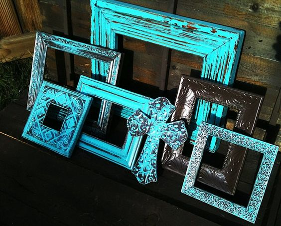 Set of 6 Open / Empty / Wood / Metal Wall Frames & Metal Cross Upcycled / Painted in Aqua / Brown , Distressed. $65.00, via Etsy.