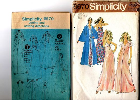 1974 Simplicity 6670 Misses' Robe And Nightgown Retro Cut size 10