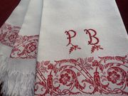 a beautiful set of three antique turkeywork show towels from 'Fleur d'Andeol'
