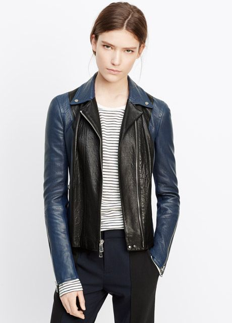 Colorblocked Leather Moto Jacket | Vince