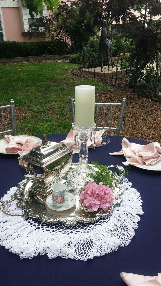Vintage tea set centerpiece. Pale pink and marine blue. Marine wedding. Outside wedding.