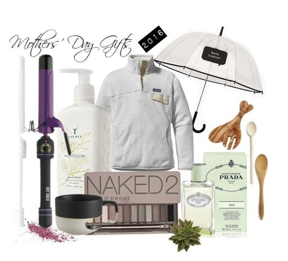 Mothers' Day Gifts by thr3estyling on Polyvore featuring Patagonia, Urban Decay, Prada, Thymes, Hot Tools, Kate Spade, CB2 and Sur La Table