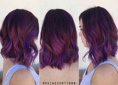 black hair with purple highlights: