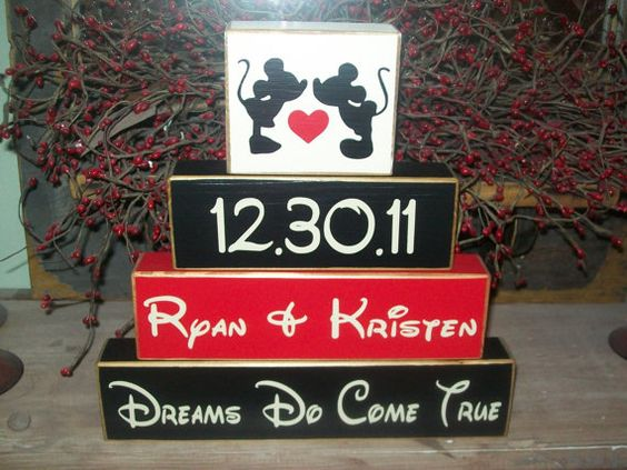 Mickey Family Blocks Sign  <3 we might have to get these on our honeymoon!