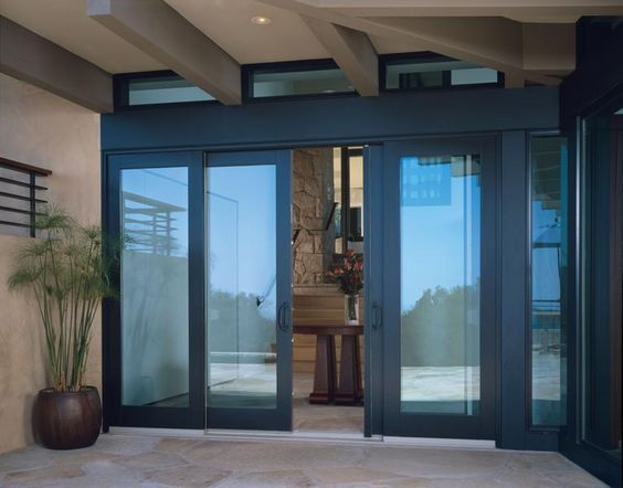 Wood Bi Parting Sliding Patio Doors With Matching Transoms