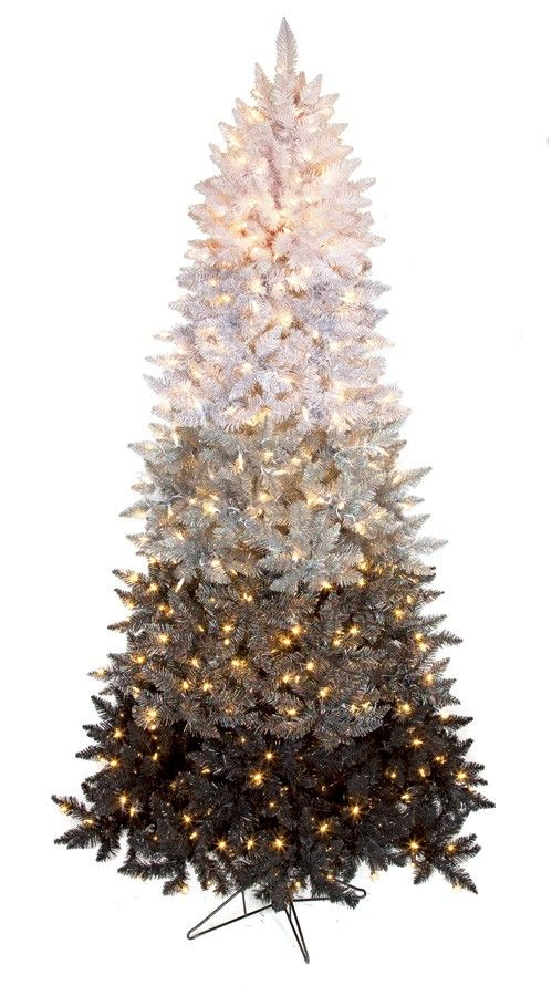 7 5 Artificial Ombre Christmas Tree Slim Size 1 364 Pvc Black White Silver Tips 60 Ombre Christmas Tree Gold Christmas Decorations Black Christmas Trees
