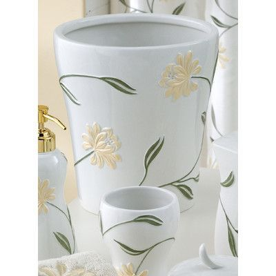 Croscill Penelope Porcelain Trash Can | Baskets and Porcelain