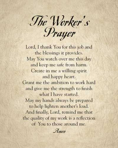 Reflection Quotes For Work Meetings: The Worker's Prayer