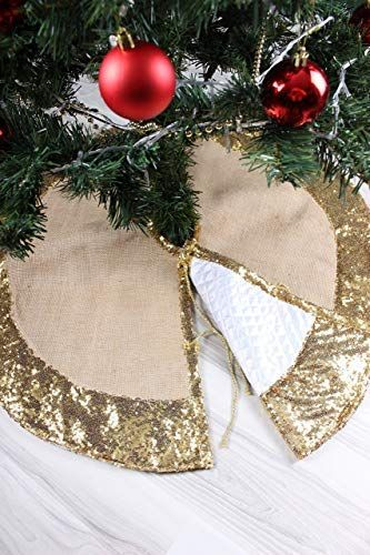 Amazon Com Gold Christmas Tree Skirt Reversible Tree Skirt Gold Christmas Tree Decoration Christmas Tree Skirt Gold Christmas Tree Skirt Burlap Christmas Tree