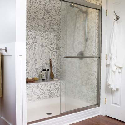 Showers Tiled Showers And Slanted Walls On Pinterest