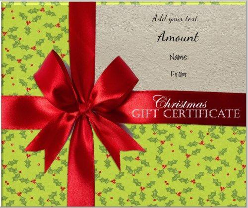 Free Christmas gift certificate Customizable Christmas Gift - free christmas voucher template