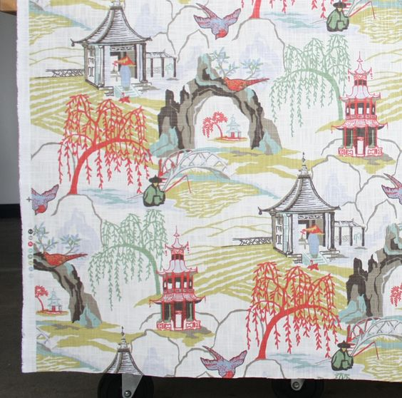 Neo Toile Coral Fabric by Robert Allen Chinoiserie