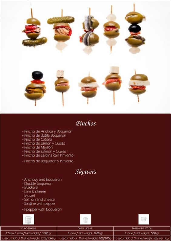 Spanish Food Prodespa: Skewers for Appetizers Typical of Spain