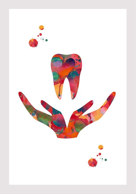 Dental Care Symbol Watercolor Print Dentist Clinic Wall Art image 1