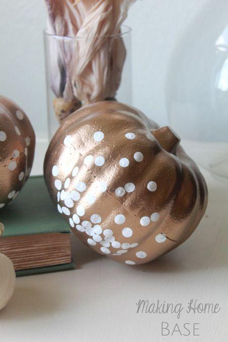 Pumpkin Decorating Ideas: Gold Confetti Pumpkins