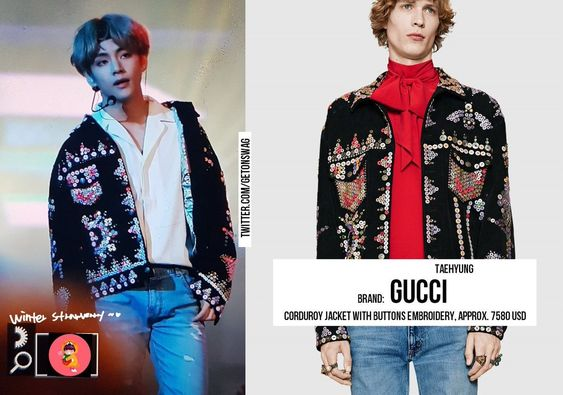 "Beyond The Style ✼ Alex ✼ on Twitter: ""TAEHYUNG #BTS 171129 weibo #TAEHYUNG #태형 #방탄소년단 GUCCI - Corduroy Jacket With Buttons Embroidery, approx. $7580… """