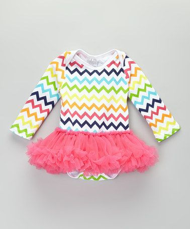Take a look at this Pink & Green Zigzag Tutu Dress - Infant by Sweet Cheeks on #zulily today!