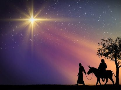 Joseph leads Mary on a journey to Bethlehem. Description from imagevine.com. I searched for this on bing.com/images
