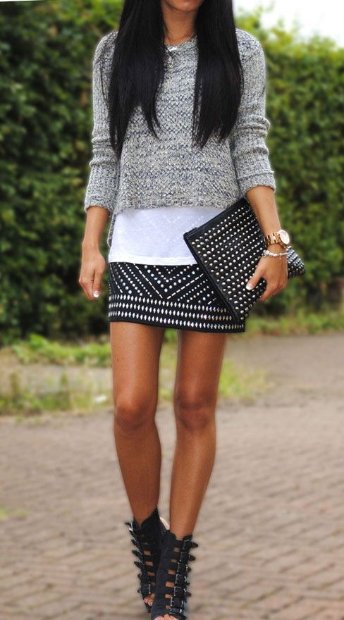 Skirt + bag + sweater. LOVE those boots