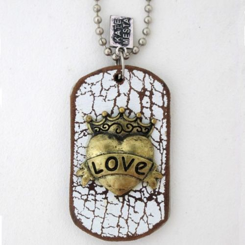 Kate Mesta Dog Tag Gold Crown Heart Love Banner Leather Designer Necklace New | eBay