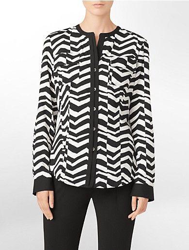exotic print roll-tab blouse