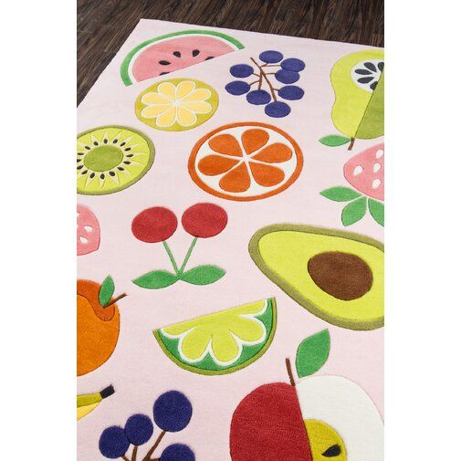 Vintage Fruit Hand Tufted Pink Area Rug With Images Pink Area
