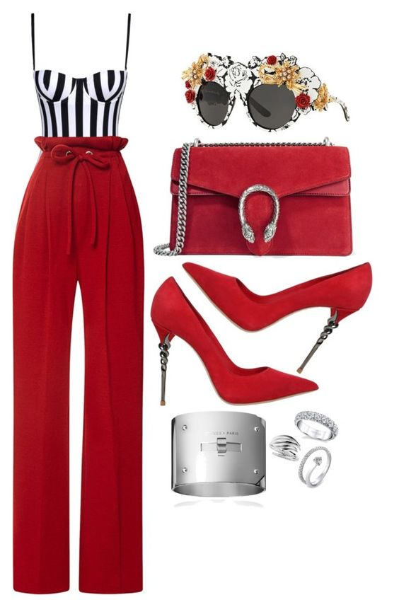 Untitled #543 by zaubri on Polyvore featuring polyvore fashion style Rodarte Dolce&Gabbana Le Silla Gucci Harry Kotlar Shaun Leane Delfina Delettrez clothing