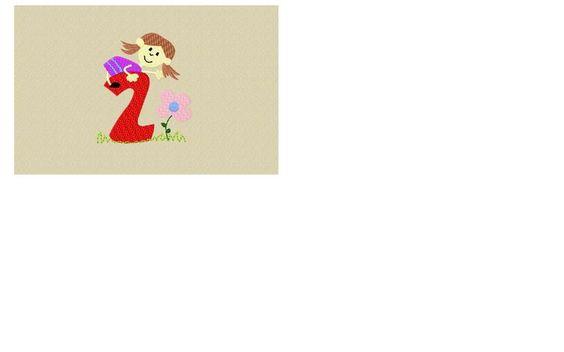 Stickdatei Zahl 2 mit Mädchen, 10x10 von Schubsmuschel auf DaWanda.com