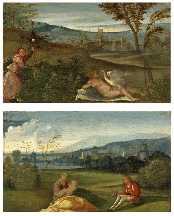 Leda e o cisne  Idílio Campestre  Giorgione (atribuído)  12 X 19  Óleo sobre tela  final do XV