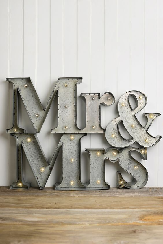 Mr & Mrs Marquee Lighted Sign, Battery Op., 6 Feet. Awesome marquee light for your wedding!