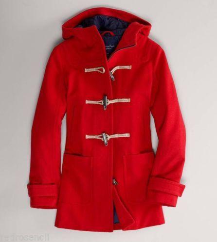 Ae american eagle womens wool toggle duffle coat winter jacket red