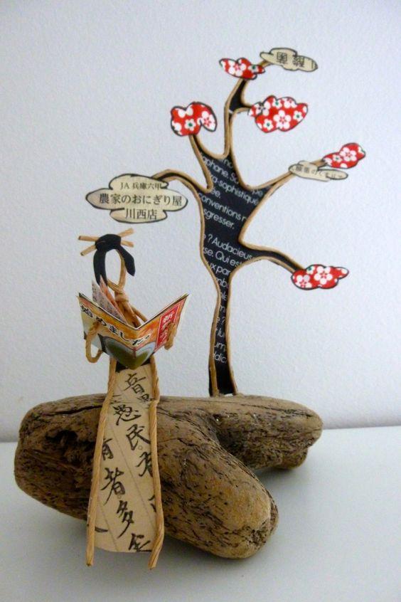 Sous le cerisier - figurine en ficelle et papier