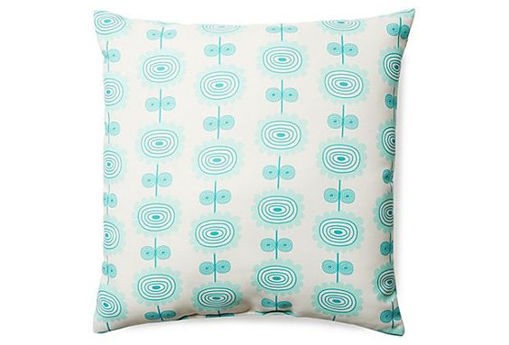 Alfresco Colors Flowers 2 20x20 Outdoor Pillow, Blue  DENY Designs on OneKingsLane.com