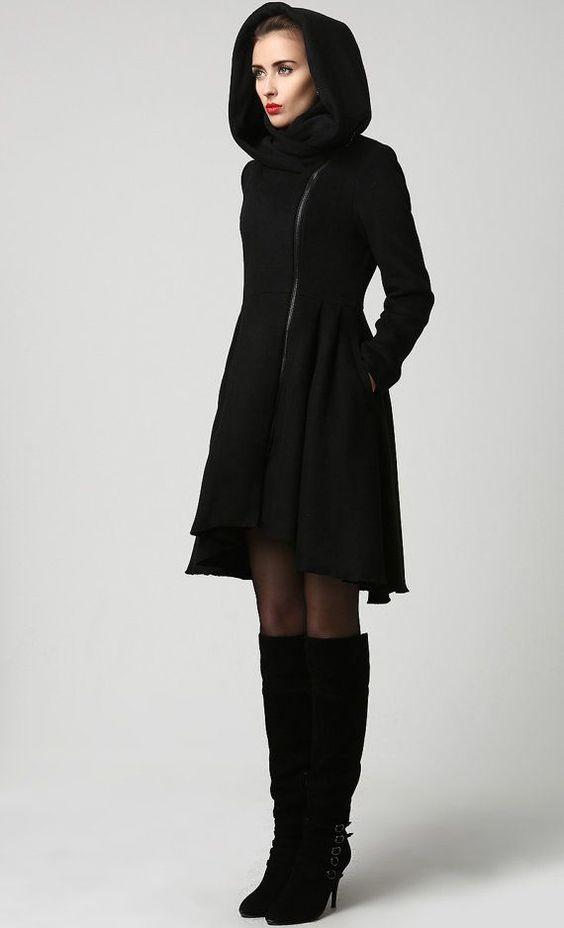 winter coats coats black wool coat woman coat wool coat black wool coat midi coat made to order. Black Bedroom Furniture Sets. Home Design Ideas