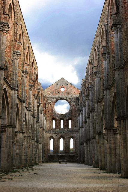 The beautiful church of San Galgano Abbey - Siena #Italy - famous for the holy sword in the stone: