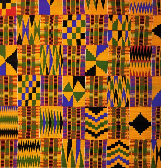 Kente cloth was develoed by the Akan people of West Africa. Many of Akan live in Ghana and Ivory Coast today. Traditionally the cloths were for sacred and royal occassions. They feature bold designs and bright colors, each of which bears meaning. For example, black signifies maturity and strong spiritual energy.