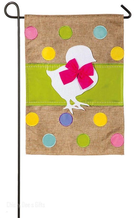 Evergreen Burlap Garden Flag EASTER CHICK 14B3595 Gardens