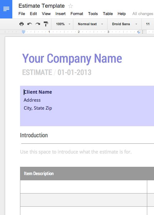 Free work Estimate Template for Google Docs Cashboard App - fake invoice maker