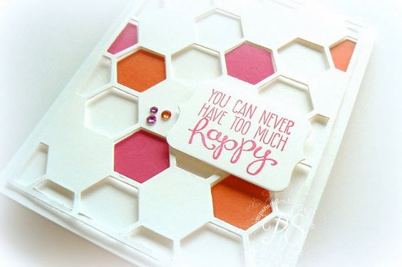 Lovin' the new Hexagon Hive Thinlit Die! Here is makes a fun overlay for a card front.