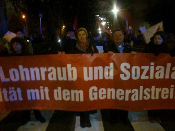 Solidarität mit dem europäischen Generalstreik 14N in Frankfurt: Demo mit einigen hundert Menschen gestartet!