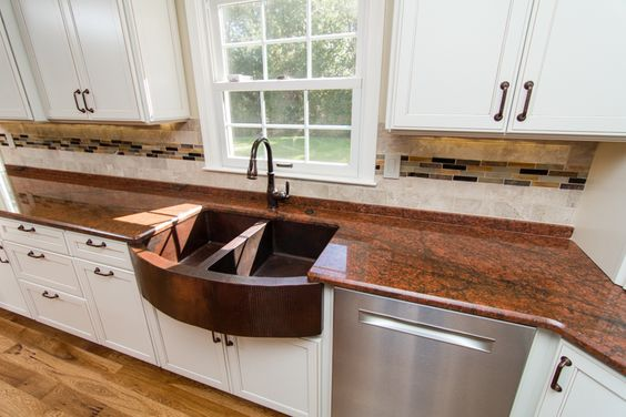A mix of red and brown granite give a rich and unique look.