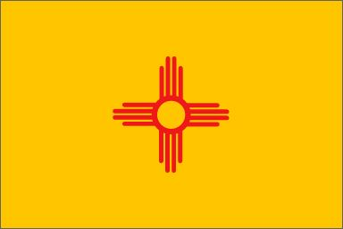 """New Mexico's State Flag (Entered the Union on February 14, 1912, 48th state) ~ Origin of Name: From Mexico, """"place of Mexitli,"""" an Aztec god or leader ~ State Motto: It grows as it goes ~ State Song: """"O Fair New Mexico"""" ~ National Parks: 3; National Forests: 7; State Parks: 32 ~ Famous for: Carlsbad Caverns, White Sands, Gila Cliff Dwellings"""